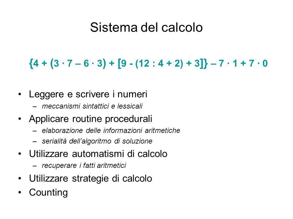 Sistema del calcolo {4 + (3 · 7 – 6 · 3) + [9 - (12 : 4 + 2) + 3]} – 7 · 1 + 7 · 0. Leggere e scrivere i numeri.